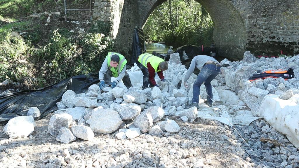 travaux en cours sur la riviere wimereux