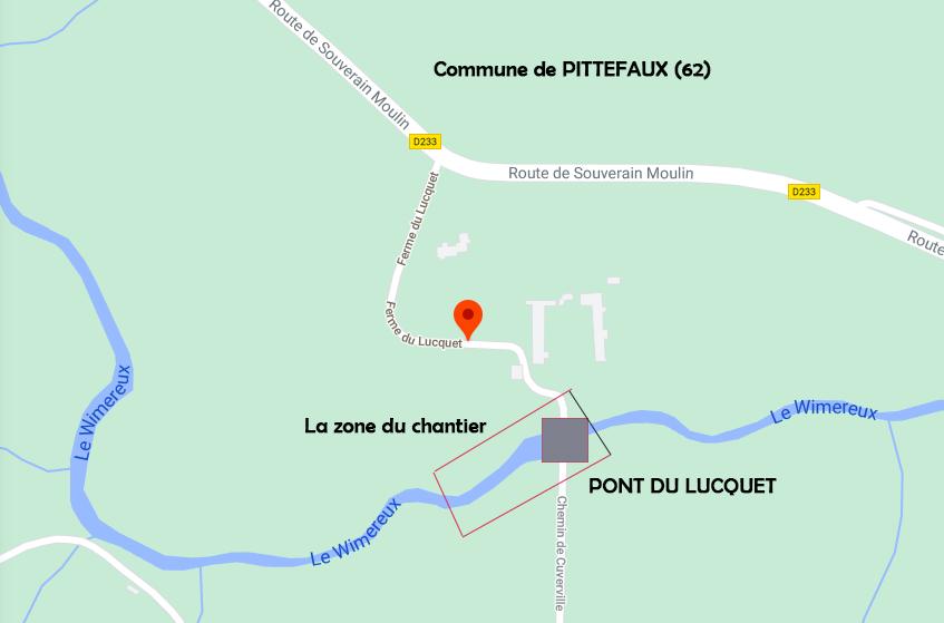 carte du pont du lucquet travaus avec delbende travaux
